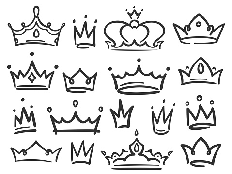Sketch crown. Simple graffiti crowning, elegant queen or king crowns hand drawn vector illustration