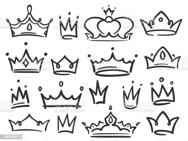 Couronne De Croquis Couronnes Simple Graffiti De Couronnement Élégantes Reine Ou Roi Illustration Vectorielle Dessinés À Main Vecteurs libres de droits et plus d'images vectorielles de Abstrait