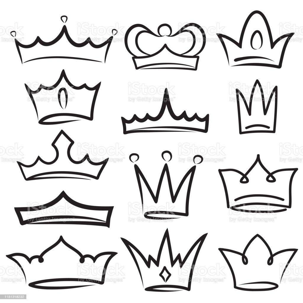 Sketch Crown Simple Graffiti Crowning Elegant Queen Or King Crowns