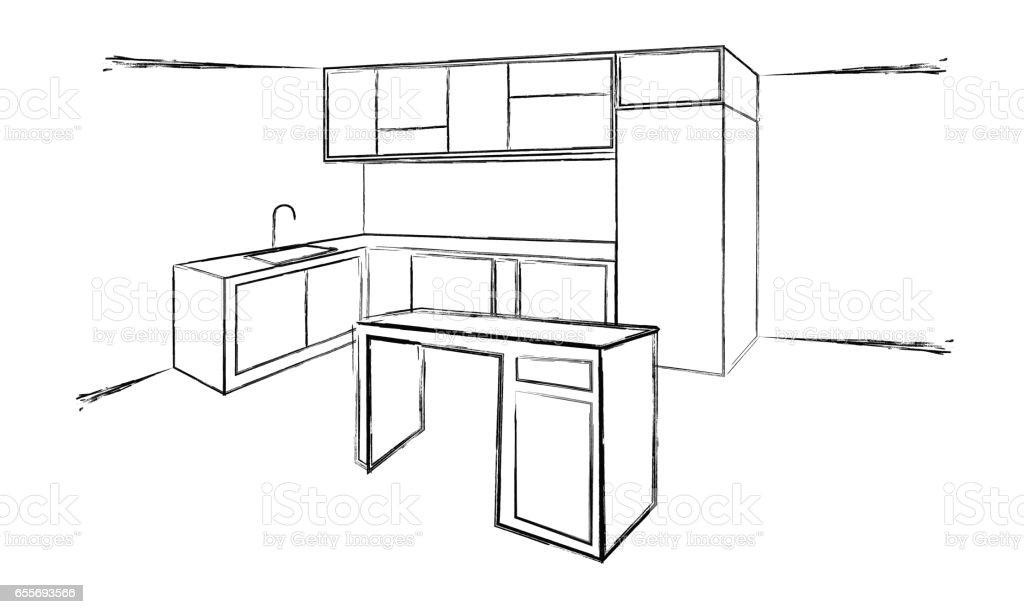 Sketch Cuisine Plan Kitchen Vector Illustration Stock Vector Art