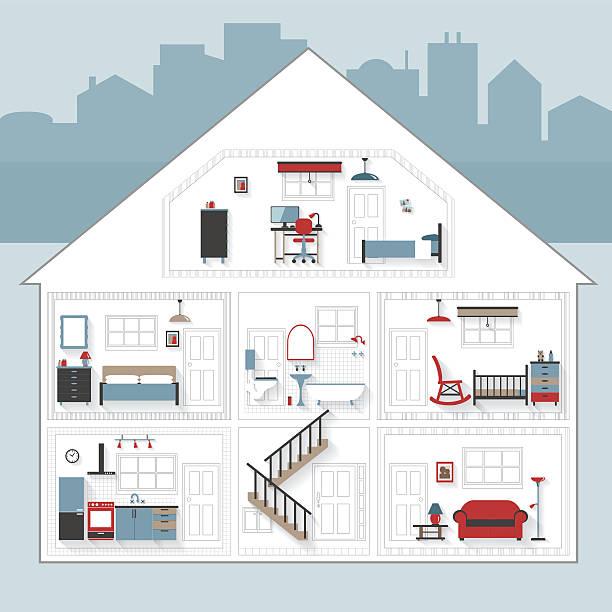 skizze cutaway wohnung haus mit möbeln in farbe - halbwände stock-grafiken, -clipart, -cartoons und -symbole