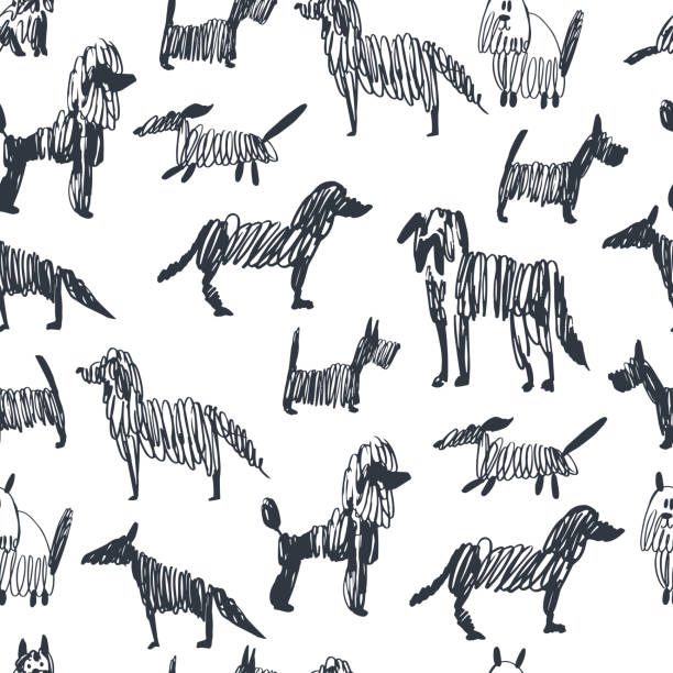 Sketch dogs.  Vector  seamless pattern Hand drawn sketch dogs.  Vector  seamless pattern image stock illustrations