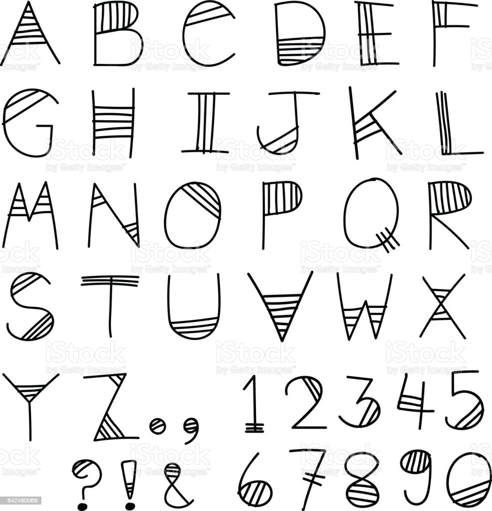 Sketch Doodle Alphabet Font Design With Numeric Number And Symbol