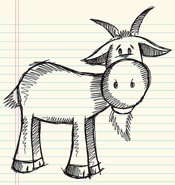 Sketch Doodle Farm Goat vector art illustration