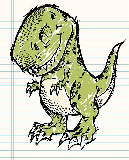 Sketch Doodle Tyrannosaurus Rex Dinosaur vector art illustration