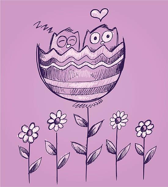 Sketch Doodle Valentines Owls in Flower vector art illustration