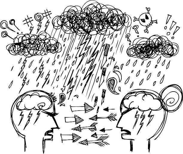 illustrazioni stock, clip art, cartoni animati e icone di tendenza di disegno e schizzi: coppia litigare - furioso