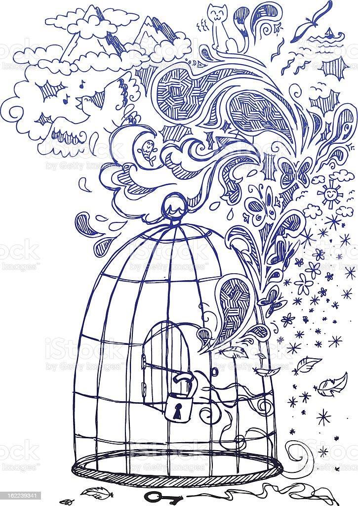 Sketch doodles: Freedom! vector art illustration