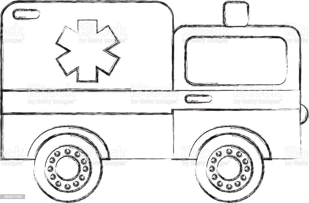 Sketch Draw Ambulance Car Cartoon Stock Vector Art & More Images of ...