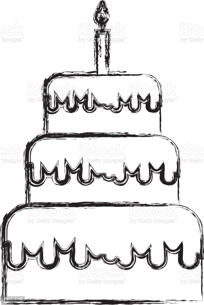 Sketch Draw Birthday Cake Cartoon Stock Vector Art More Images Of