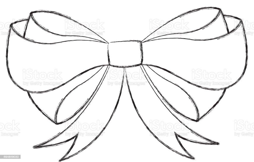 sketch draw christmas bow cartoon royalty free stock vector art
