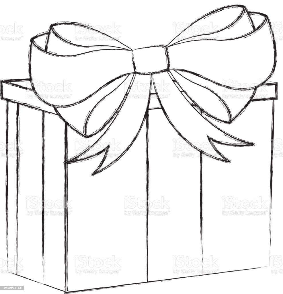 Christmas Gift Box Drawing.Sketch Draw Christmas Gift Cartoon Stock Illustration Download Image Now