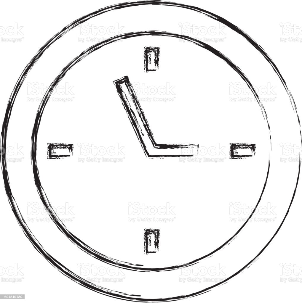 sketch draw clock cartoon stock vector art 691819430