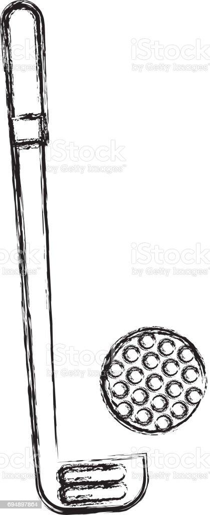 esboço desenhar golf club e bola arte vetorial de acervo e mais