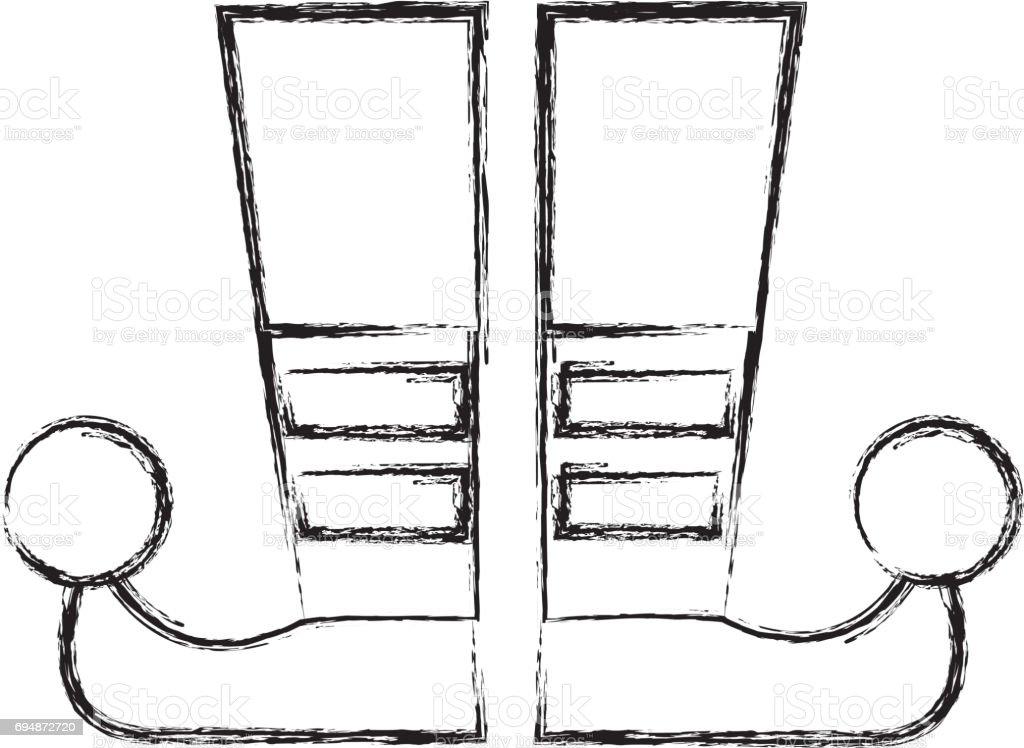 Sketch tirage bouffon bottes dessin animé sketch tirage bouffon bottes dessin animé cliparts vectoriels et