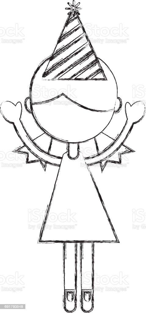 Skizze Zu Zeichnen Partei Madchen Cartoon Stock Vektor Art Und Mehr