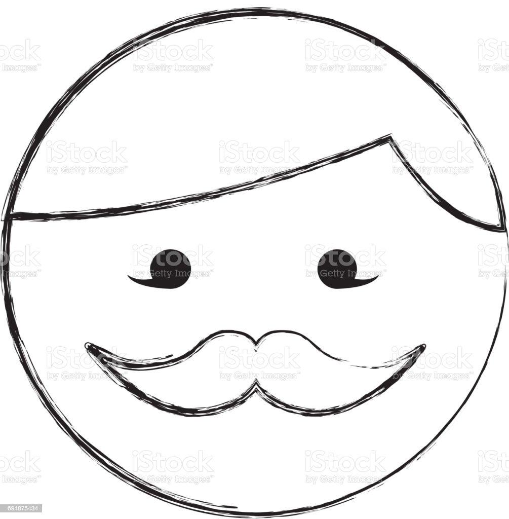 Vetores De Esboco Desenhar Desenho De Rosto Redondo Bigode Homem E