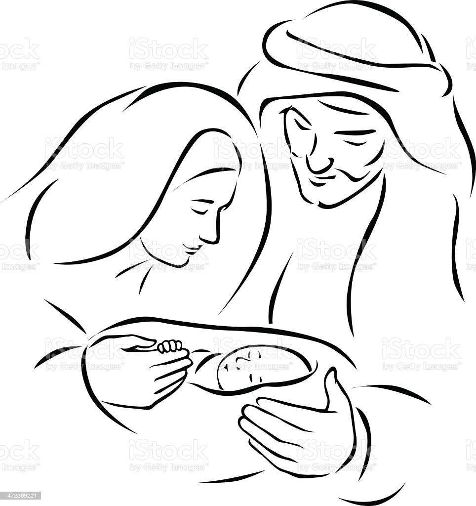 Sketch drawing of a Christmas nativity scene vector art illustration