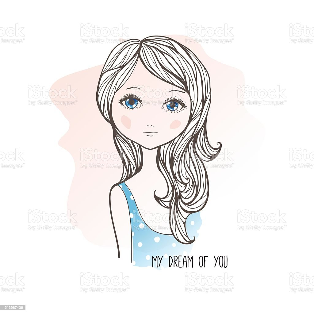Sketch Drawing Of Cute Dreaming Girl Stock Illustration Download Image Now Istock