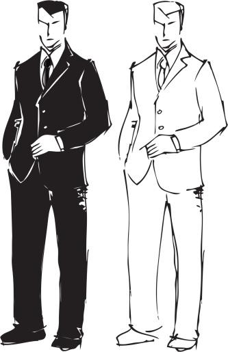 Sketch drawing of man in suit.
