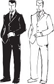Man in the suit, model sketch. Vector illustration.