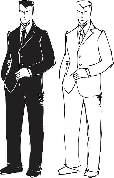 Sketch drawing of man in suit. vector art illustration