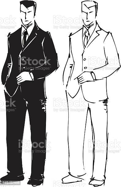 Sketch Drawing Of Man In Suit Stock Illustration - Download Image Now