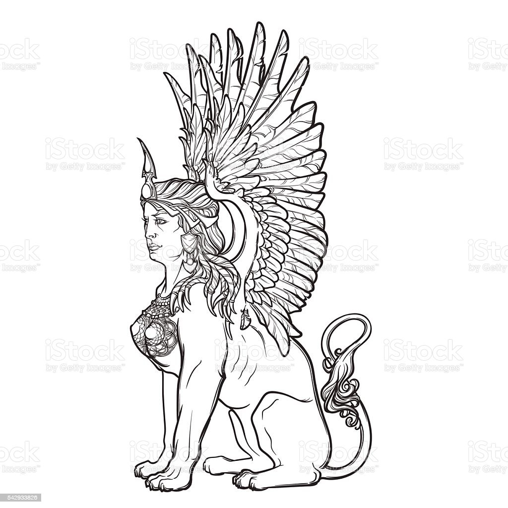 Sketch drawing of sitting sphinx isolated on white background. vector art illustration