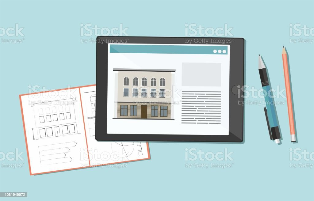 Sketch, drawing of the building in a notebook and digital tablet. vector art illustration
