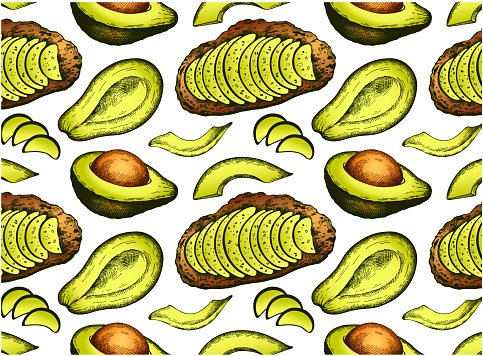 Sketch drawing pattern with avocado toast and green sliced avocado