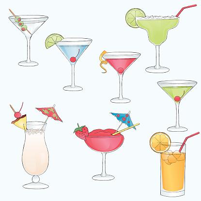 Sketch drawn cocktail drinks.