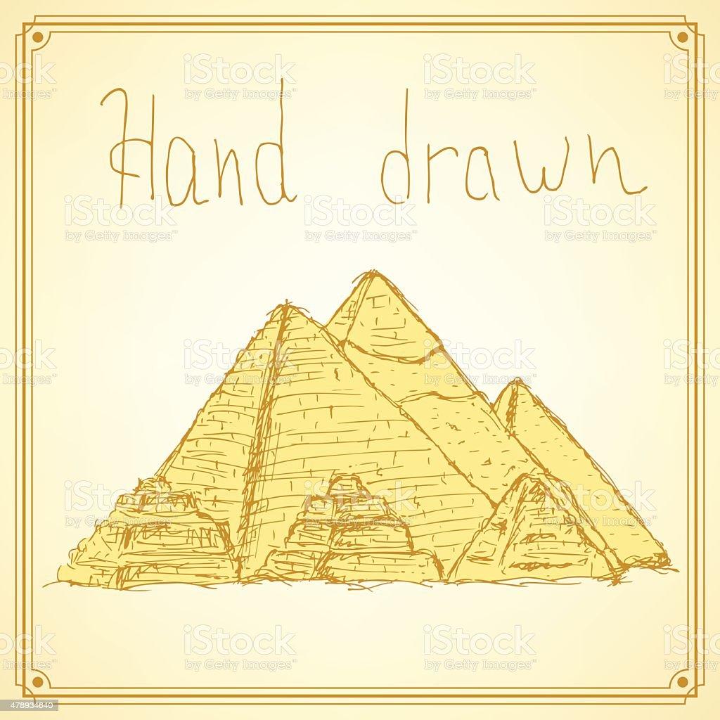 Sketch Egypt pyramids in vintage style vector art illustration