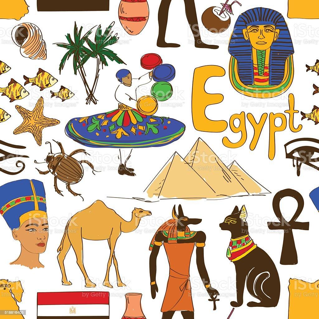 Sketch Egypt seamless pattern vector art illustration