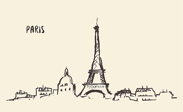 sketch eiffel tower paris, vector illustration. - paris stock illustrations, clip art, cartoons, & icons