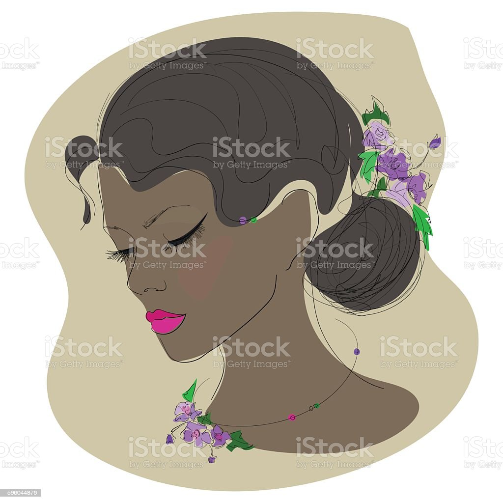 sketch , face of a beautiful girl with decoration of flowers royalty-free sketch face of a beautiful girl with decoration of flowers stock vector art & more images of adult