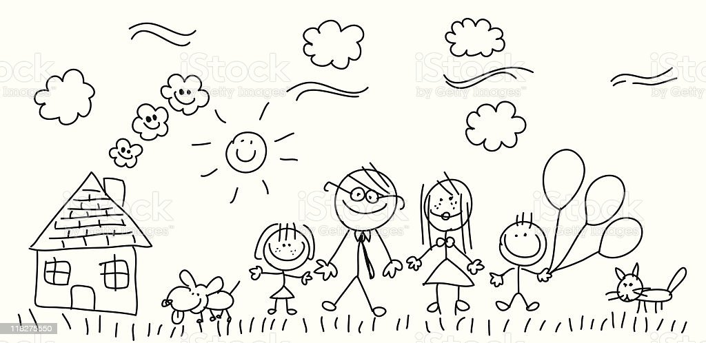 Sketch family royalty-free stock vector art