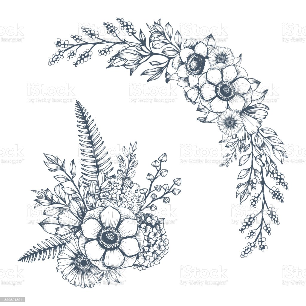 Sketch floral bouquet and border. vector art illustration