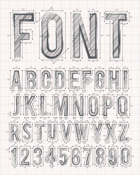 sketch font vector sketch alphabet font on red graph paper in vector format alphabet designs stock illustrations