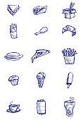 Fast Food Menu Items in Sketchy Style.