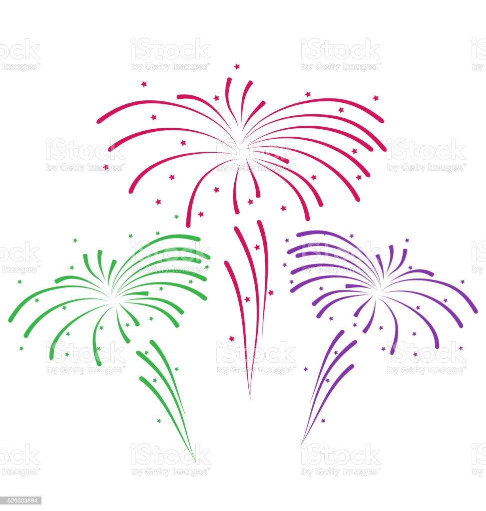 Desenho abstrato colorido de fogos de artifício vetor e ilustração royalty-free royalty-free