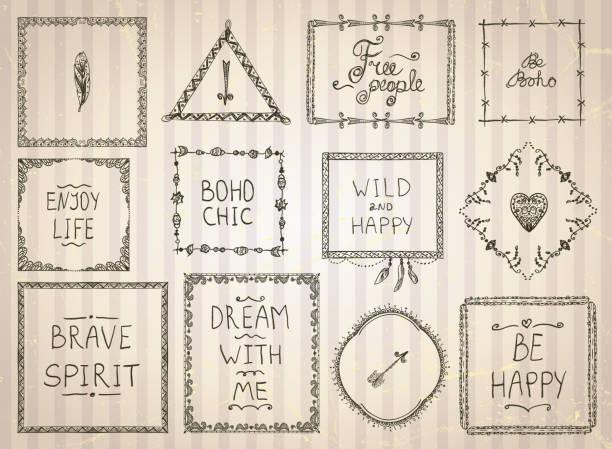 skizzieren sie frames und philosophie zitat phrasen - zigeunerleben stock-grafiken, -clipart, -cartoons und -symbole
