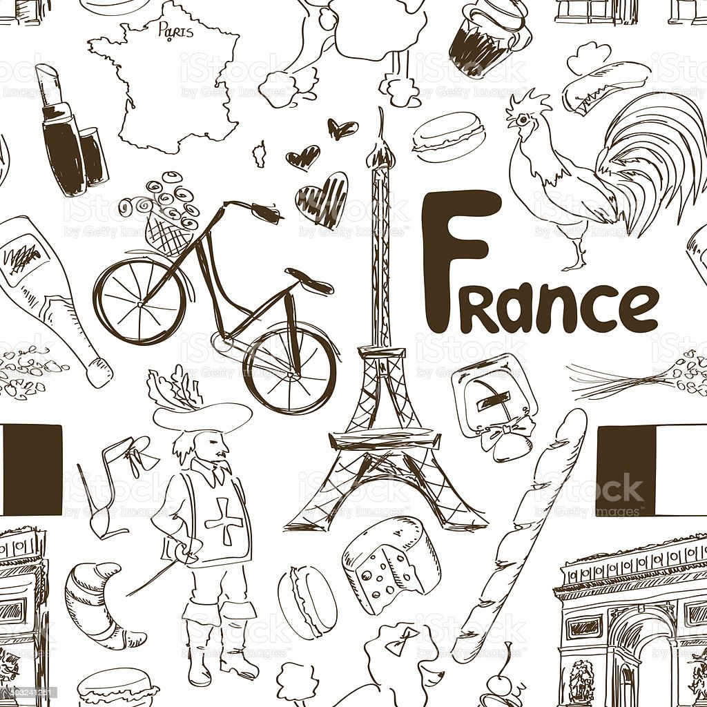 Sketch France seamless pattern vector art illustration