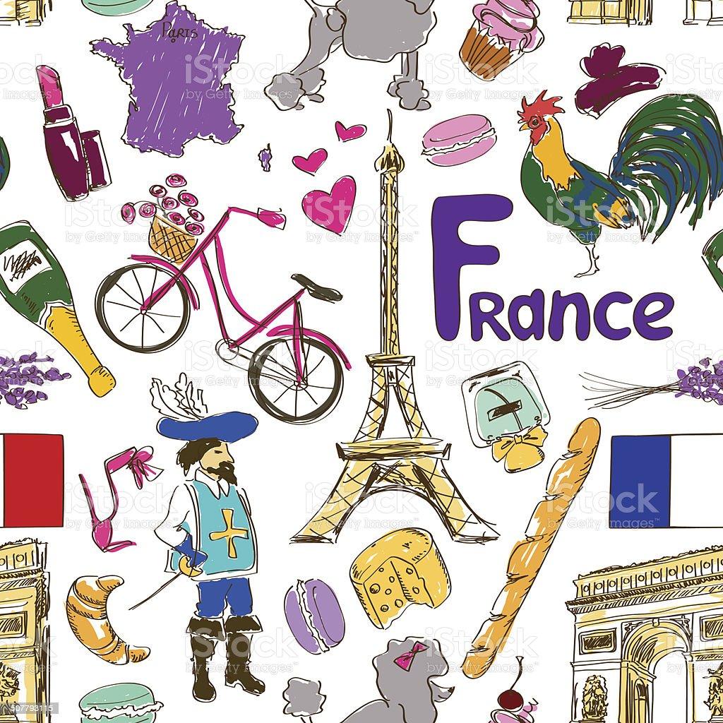 Ilustración de Francia Patrón Sin Costuras De Sketches y más banco ...