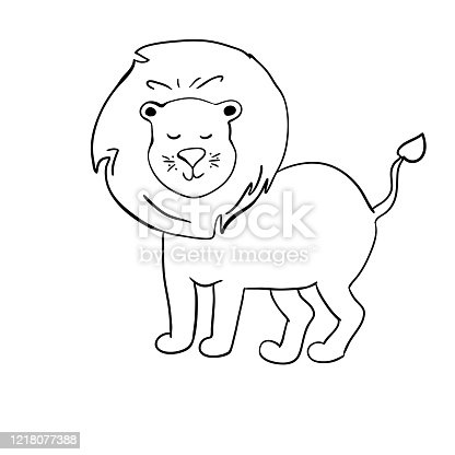 sketch funny cartoon lion. black white Isolated objects.Hand drawn vector illustration Concept for children. Cute cartoon lion. Vector Illustration