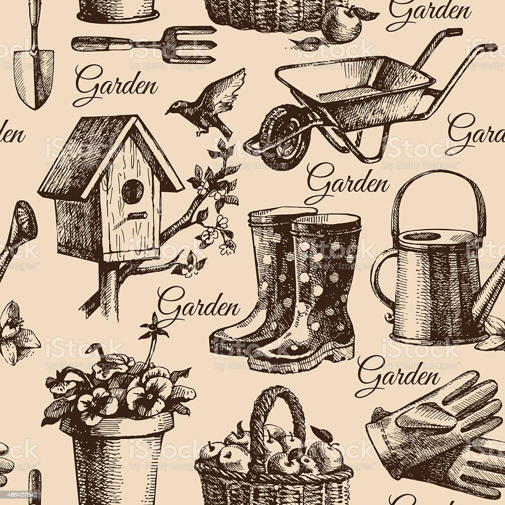 Sketch gardening seamless pattern. Hand drawn illustration vector art illustration