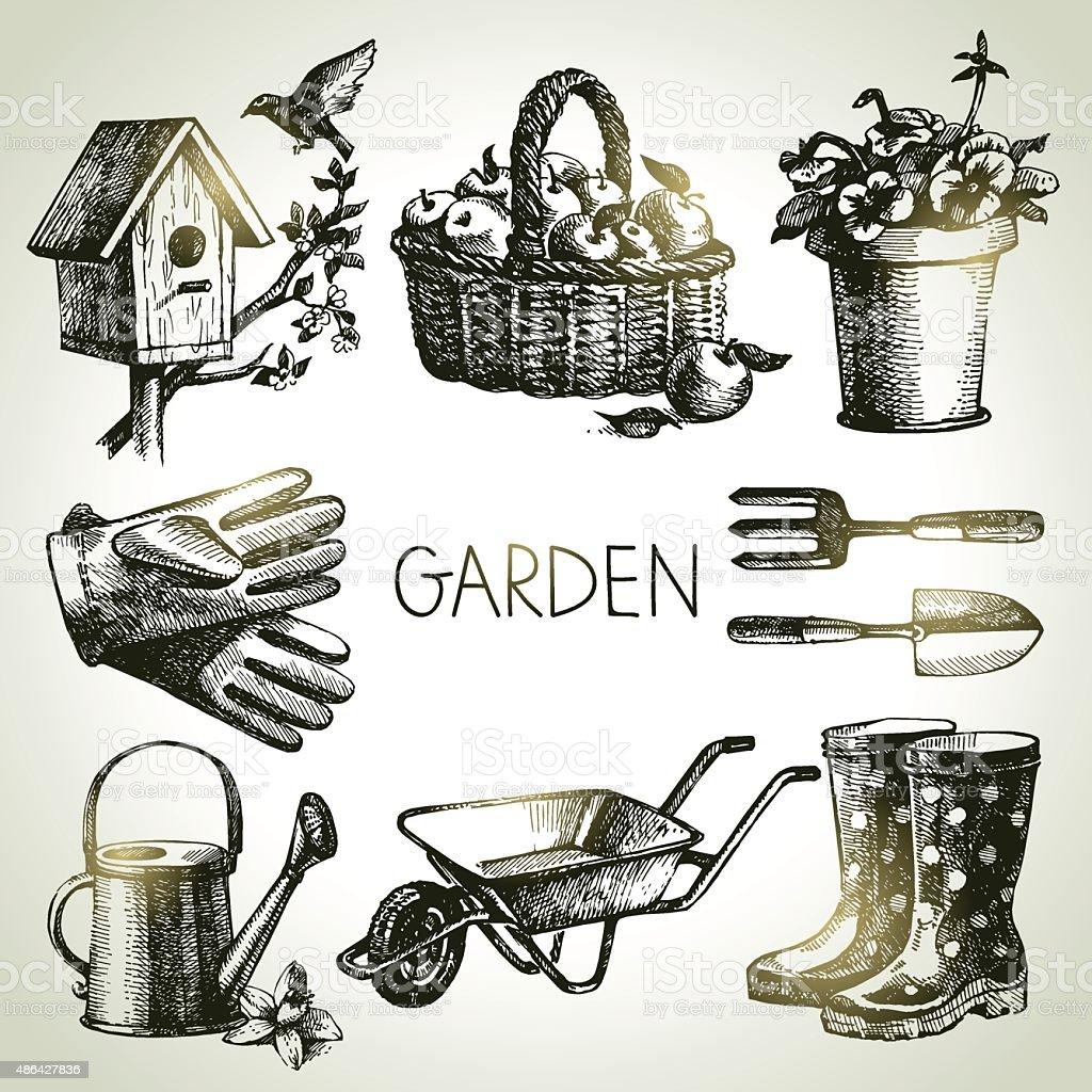 Sketch gardening set. Hand drawn design elements vector art illustration