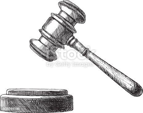 Hand drawn vector illustration of judge gavel.