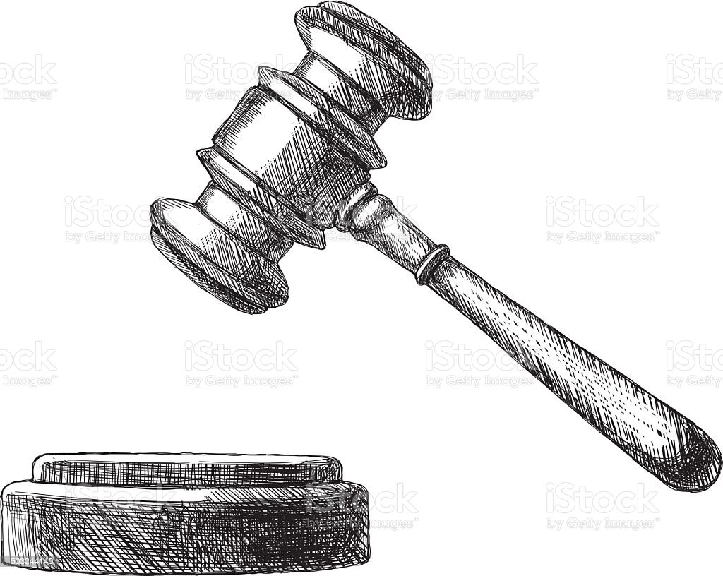 Sketch Gavel vector art illustration