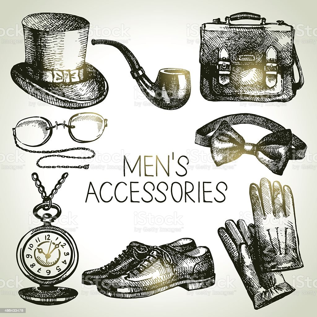 Sketch gentlemen accessories. Hand drawn men illustrations set vector art illustration