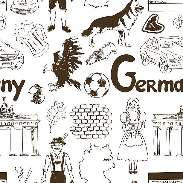 ilustrações de stock, clip art, desenhos animados e ícones de esboço alemanha sem costura padrão - berlin wall
